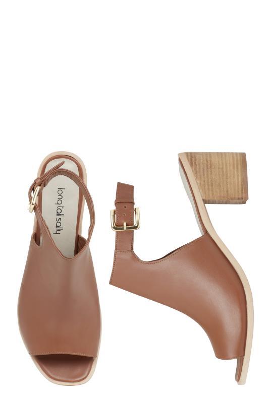 Tan Lilly Leather Block Heel Sandal
