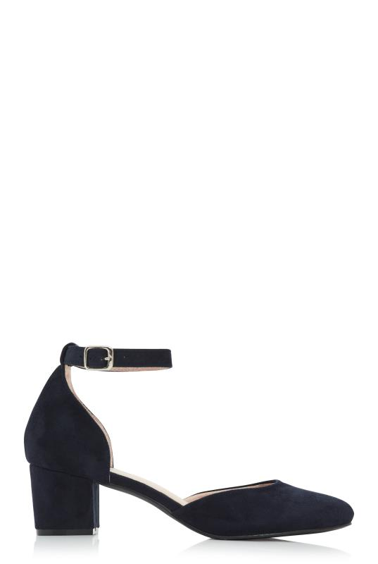 Tall Shoes Navy Block Heel Shoe