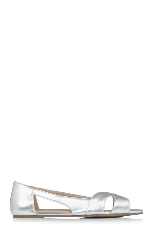LTS Silver Kim Peep Toe Ballerina
