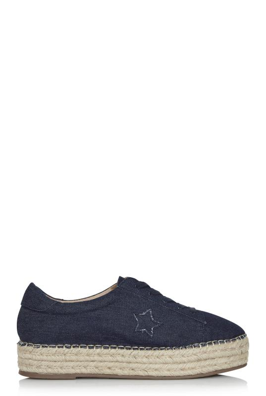 Navy Star Lace Up Espadrilles