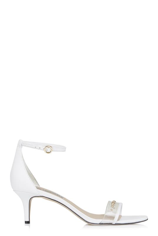 KARL LAGERFELD White Dixie Ankle Strap Sandals