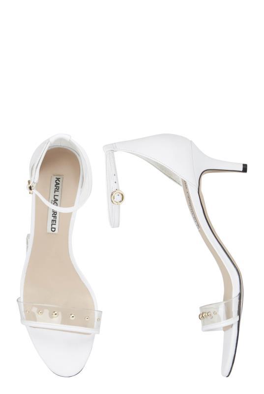 KARL LAGERFELD White Dixie Ankle Strap Sandals