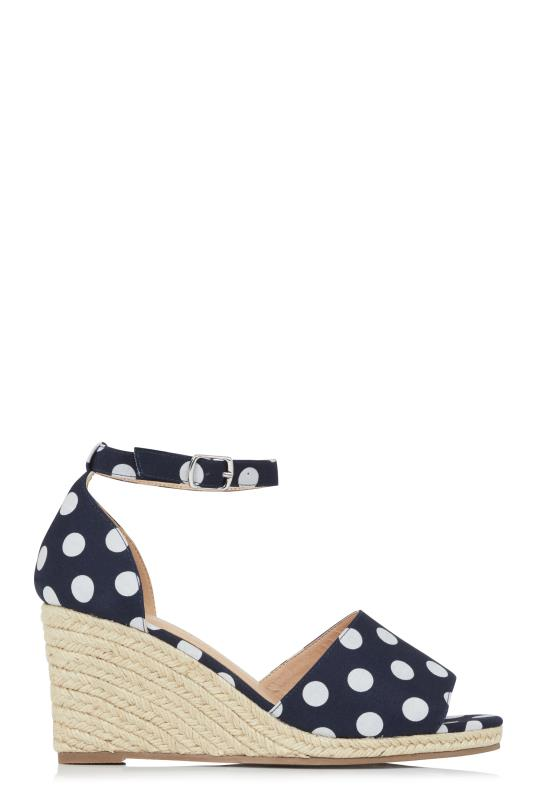 LTS Navy Dahlia Two Part Espadrille Wedge