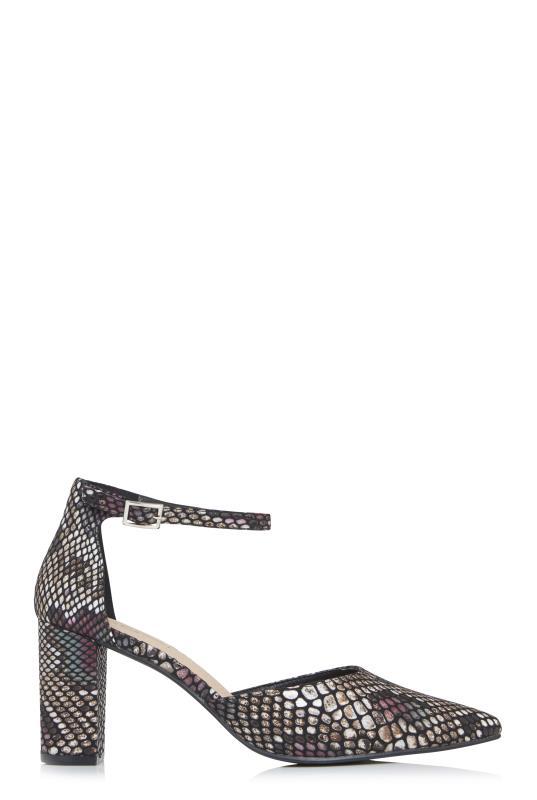 Black Croc Effect Strappy Block Heels