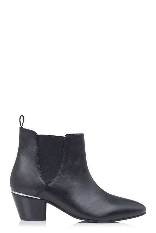 Black Sadee Heel Trim Leather Ankle Boot