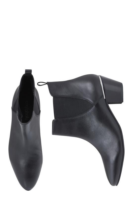 Black Sadee Heel Trim Leather Ankle Boot
