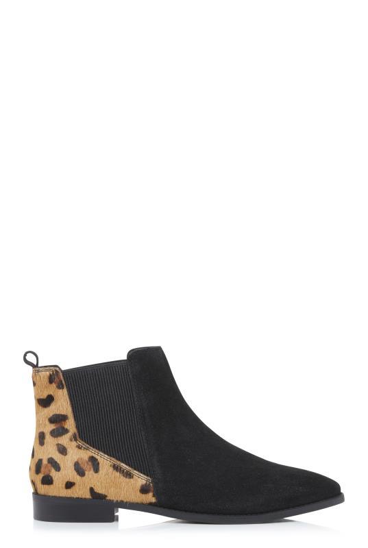Black Leopard Print Leather Chelsea Boots