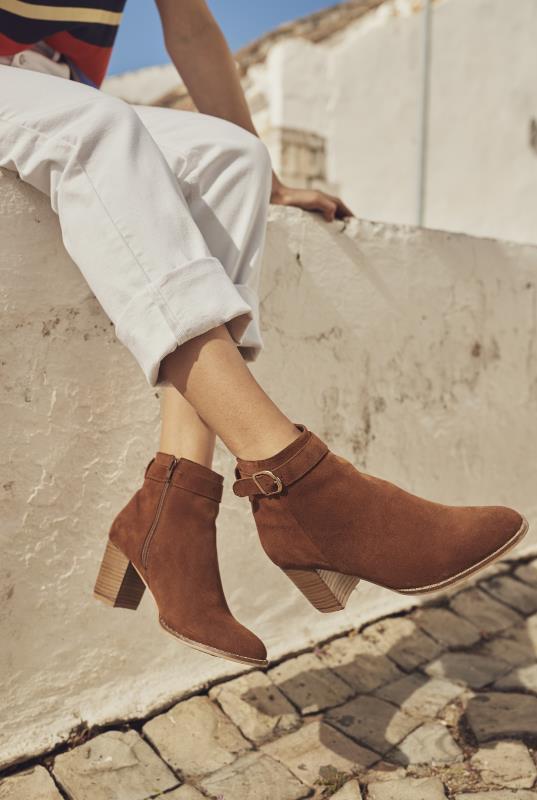 LTS Tan Suede Buckle Detail Heeled Boot