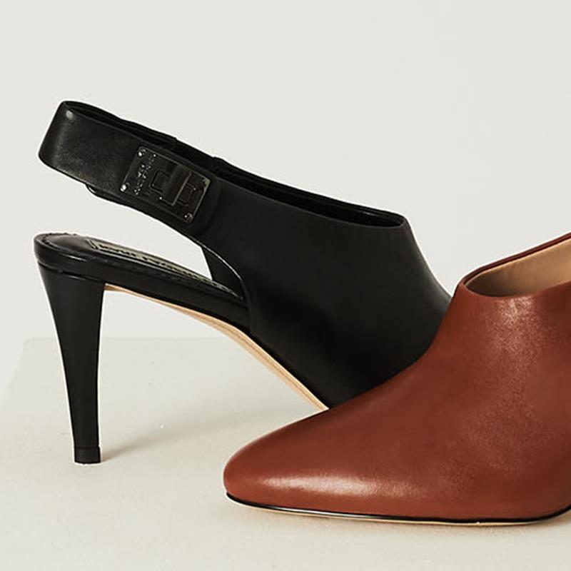 Karl Lagerfeld Paris Brown Maddie Ankle Strap Pump