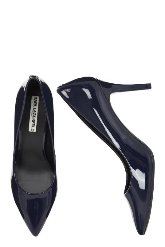 KARL LAGERFELD Navy Shine Royale Pointed Heels