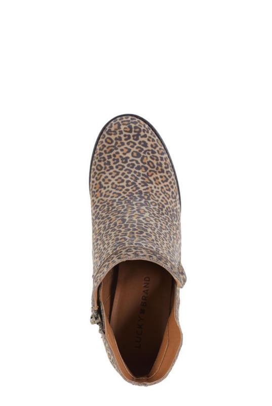 LUCKY BRAND YABBA Natural Leopard Wedge Ankle Boot