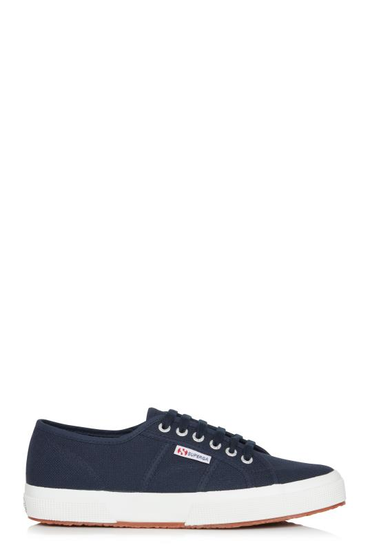 Tall Lace Ups SUPERGA 2750 Cotu Navy Canvas Trainer