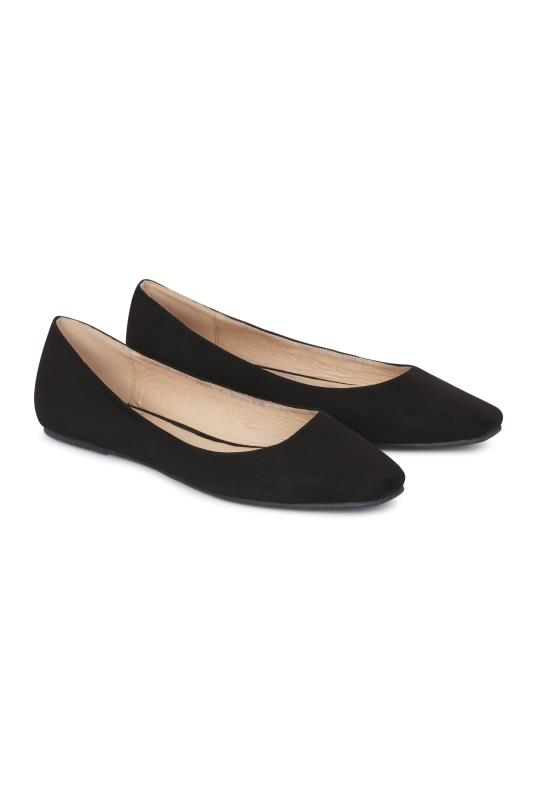 Black Square-Toe Violetta Ballerina Pumps