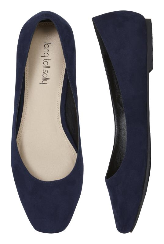 Navy Square-Toe Violetta Ballerina Pumps