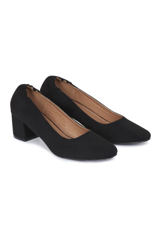 Tall Courts LTS Black Darcy Elasticated Block Heel Court