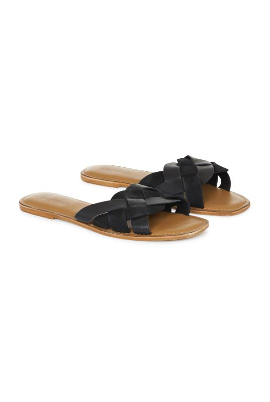 Tall Slides & Mules LTS Black Bella Leather Weave Slip On Sandal