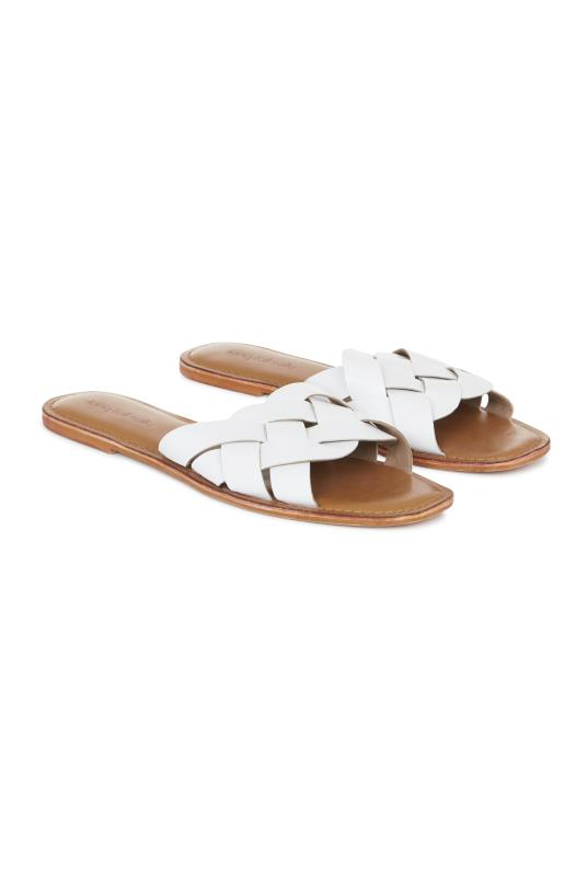 Tall Slides & Mules LTS White Bella Leather Weave Slip On Sandal