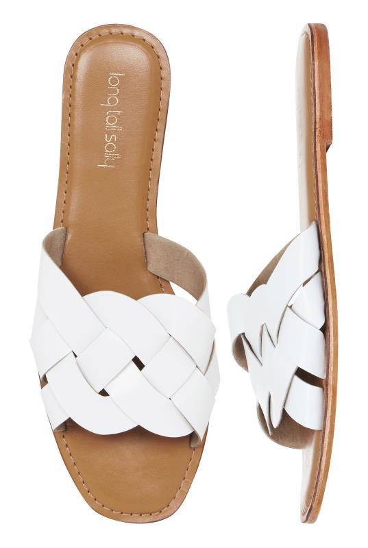 LTS White Bella Leather Weave Slip On Sandal