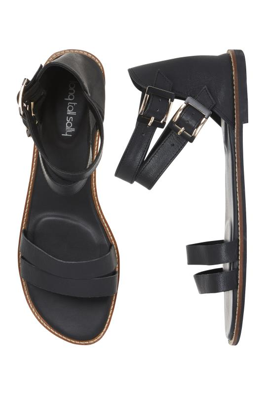 Black Leather Gladiator Sandal