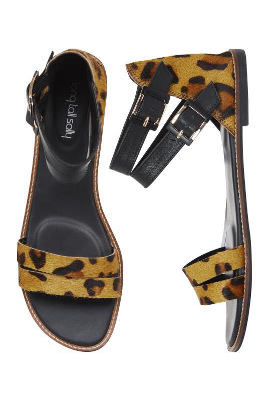Black Animal Print Leather Sandal