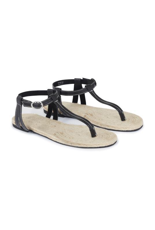Black Leather Jute Footbed T-Bar Sandal_1.jpg