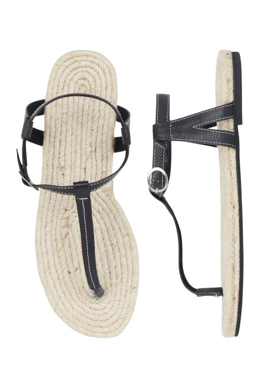 Black Leather Jute Footbed T-Bar Sandal