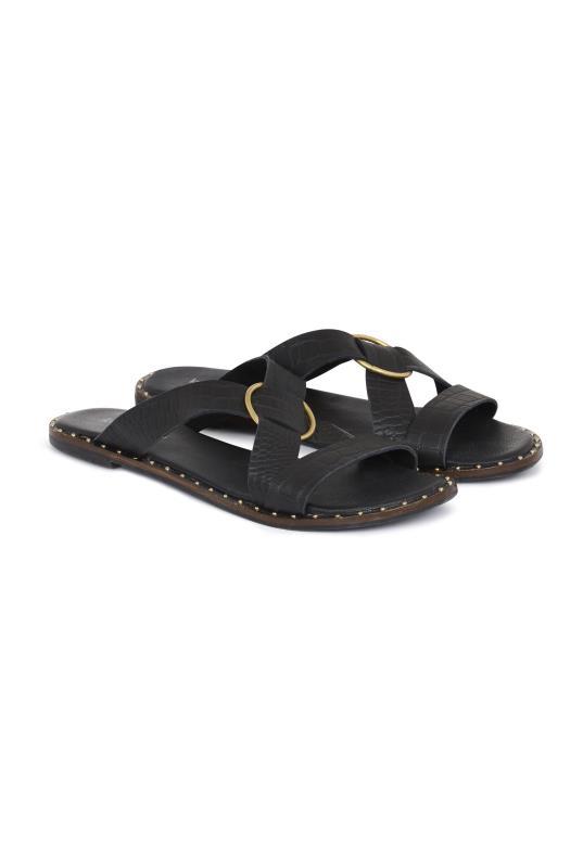 LTS Black Bianca Buckle Detail Leather Sandal