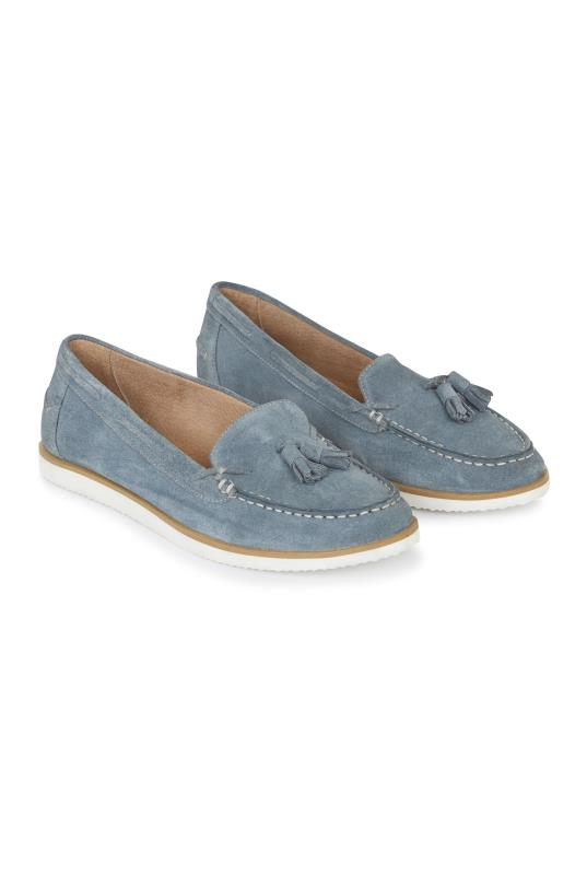 Tall Loafers LTS Blue Rudy Suede Moccasin Tassel Loafer