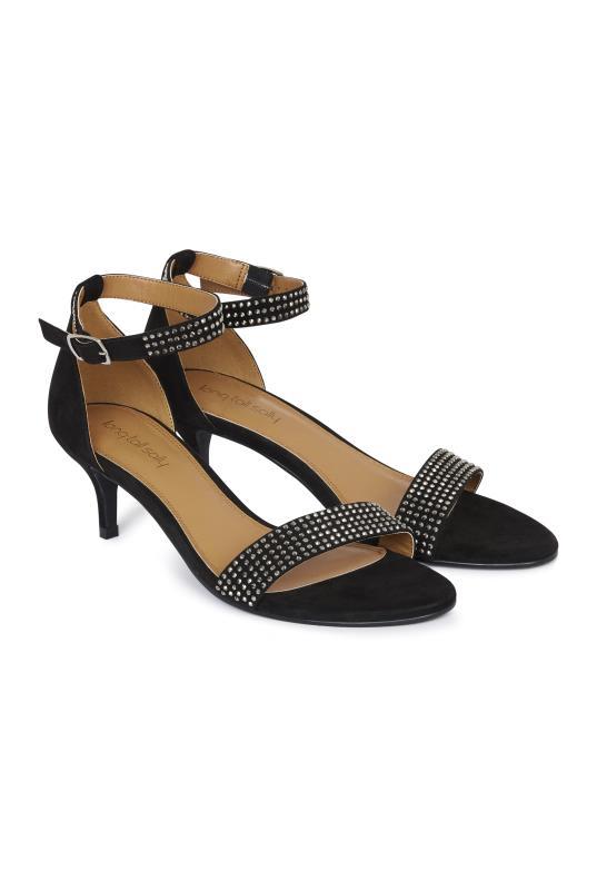 Black Sparkle Kitten Heel