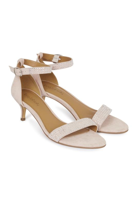 Tall Sandals Nude Kitten Heel