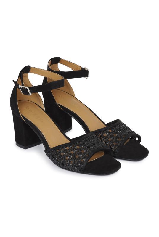 Black Woven Detail Block Heel Sandal