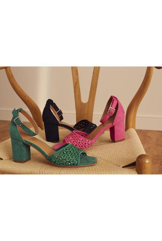 Pink Woven Detail Block Heel Sandal