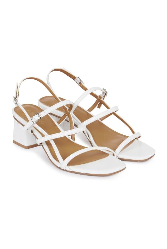 LTS White Strappy Mid Heel Sandal