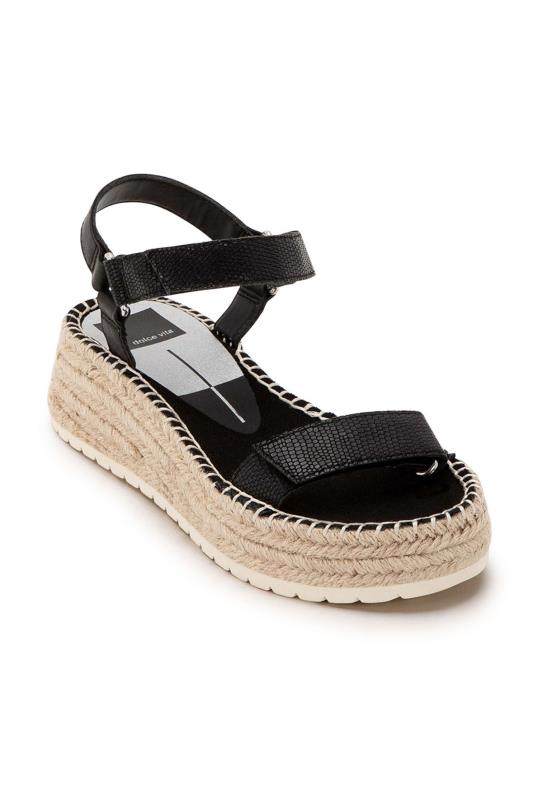 DOLCE VITA Black Espadrille Wedged Sandals