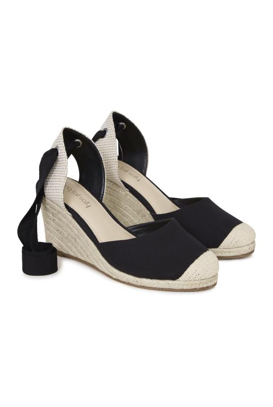 Tall Espadrilles Demi Black Espadrille Wedges