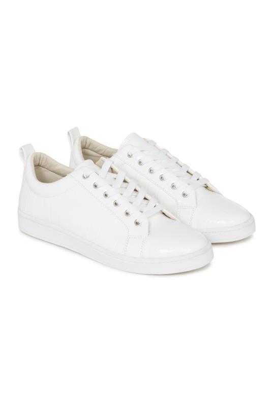 Tall Lace Ups LTS White Via Croc Trainer