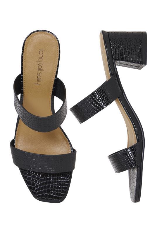 LTS Black Croc Print Sylvie Strappy Mule