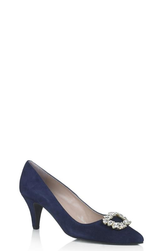 Navy DeLuxe Carina Kid Suede Jewelled Court