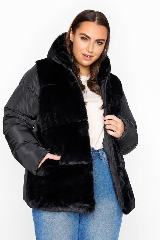 Plus Size  Black Faux Fur Padded Jacket