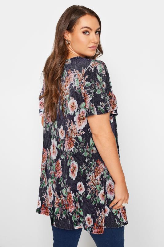 Navy Floral Print Short Sleeve Top_C.jpg