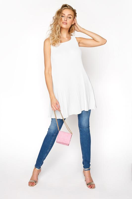 LTS White Sunray Pleated Vest