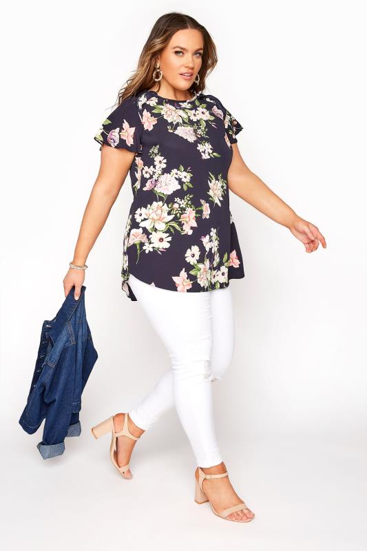 Navy Floral Frill Shoulder Blouse