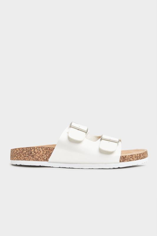 White Buckle Strap Footbed Sandals In Extra Wide Fit_A.jpg