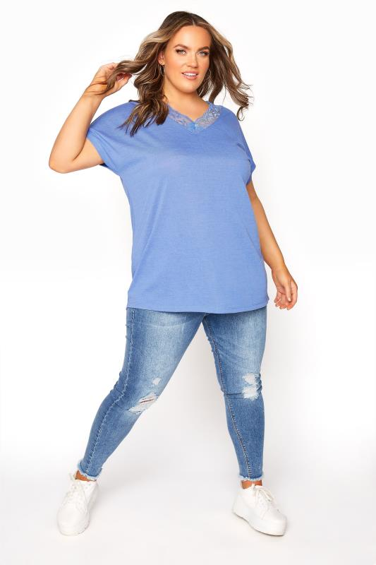 Blue Lace Neck T-Shirt