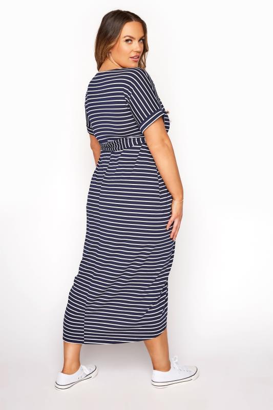 BUMP IT UP MATERNITY Navy & White Stripe Tie Waist Wrap Dress_C.jpg