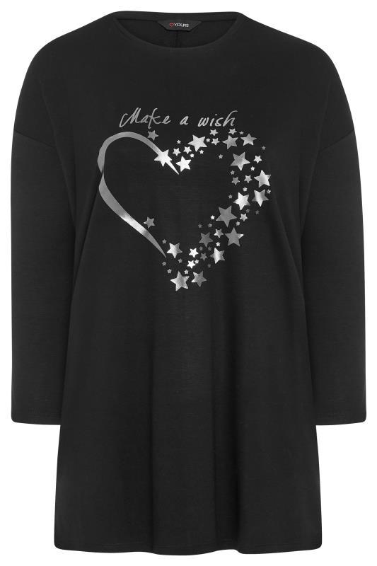 Black Silver Heart Slogan Sweatshirt_F.jpg