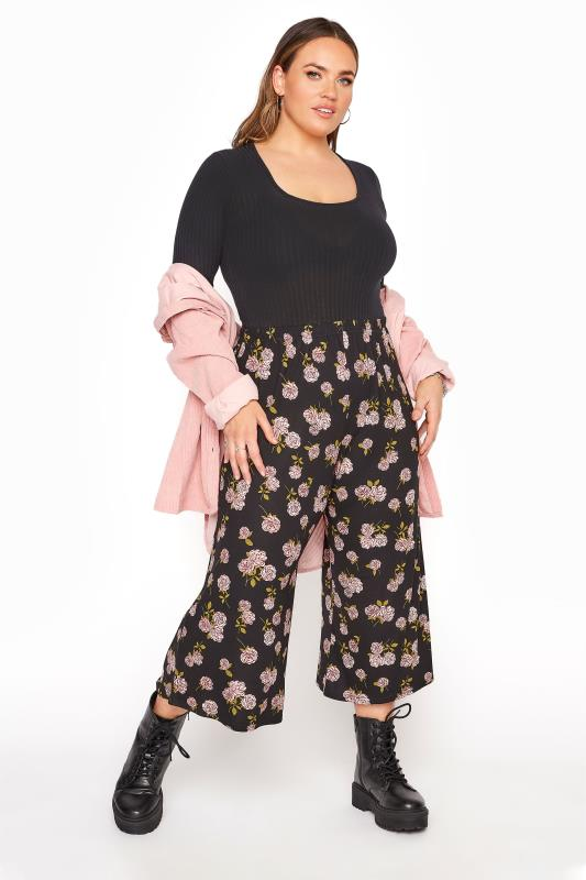 Plus Size  LIMITED COLLECTION Black & Pink Floral Print Culottes