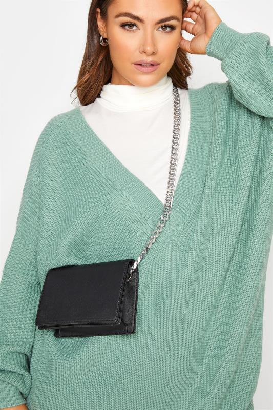 Black Chunky Silver Chain Crossbody Bag
