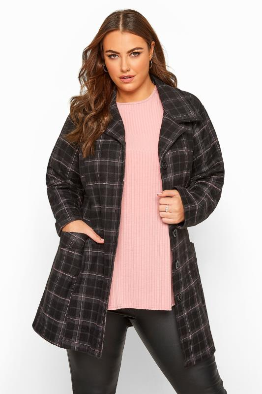 Black & Pink Check Revere Collar Coat