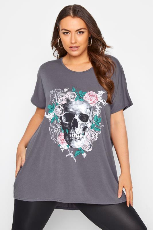 Plus Size  Charcoal Grey Floral Skull Print Top